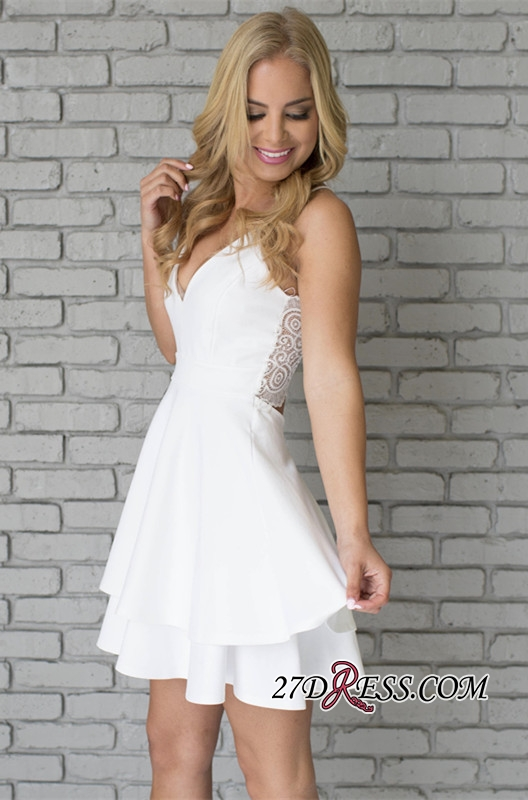 White Spaghetti-Strap Cute Lace Mini Sleeveless Homecoming Dress