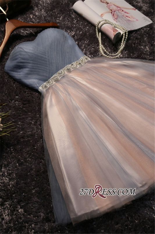 Chic Tulle Short A-Line Prom Dresses | Sweetheart Sleeveless Crystals Party Dresses