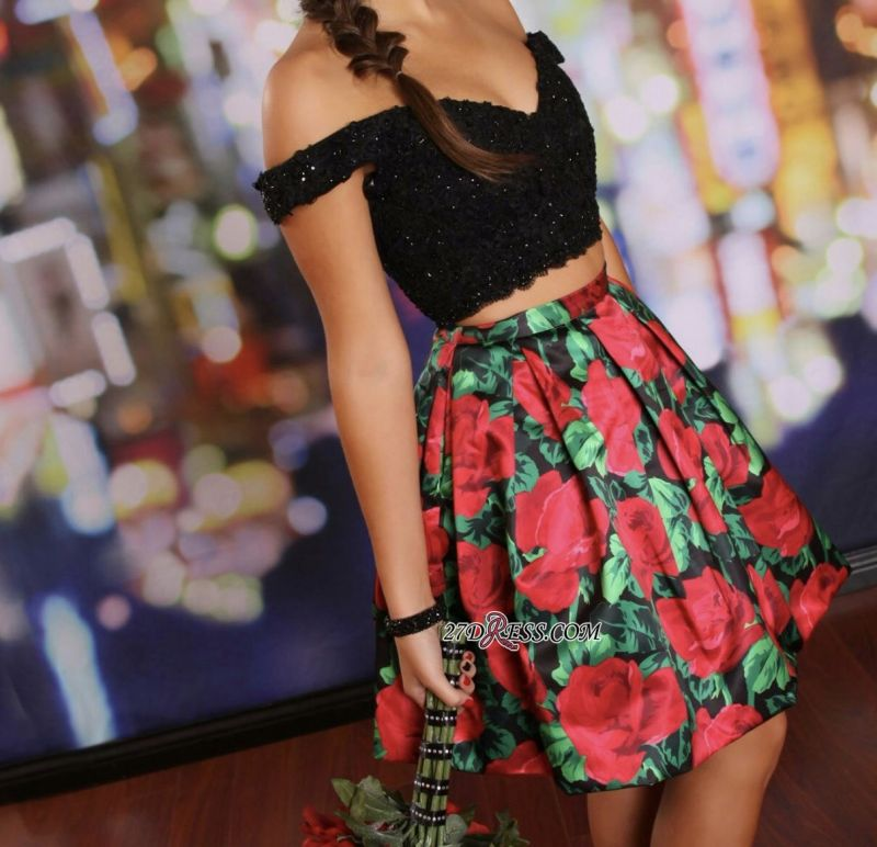 Floral Lace-Beaded Black Two-Piece Off-the-Shoulder Homecoming Dresses