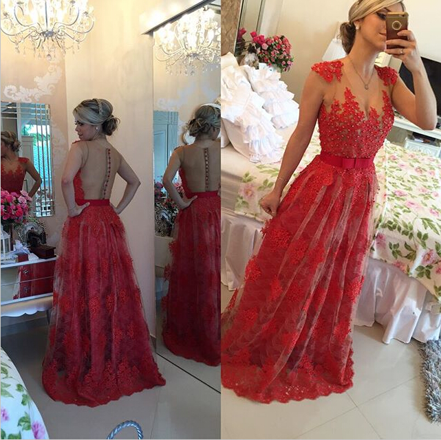 Sexy Red Pearls Lace Evening Dress 2020 Sheer Floor-Length BT0