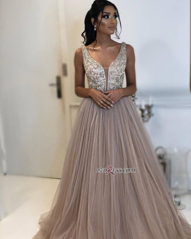 Gorgeous Tulle Sleeveless V-Neck Formal Dresses | A-Line Sequins Cheap Prom Dresses