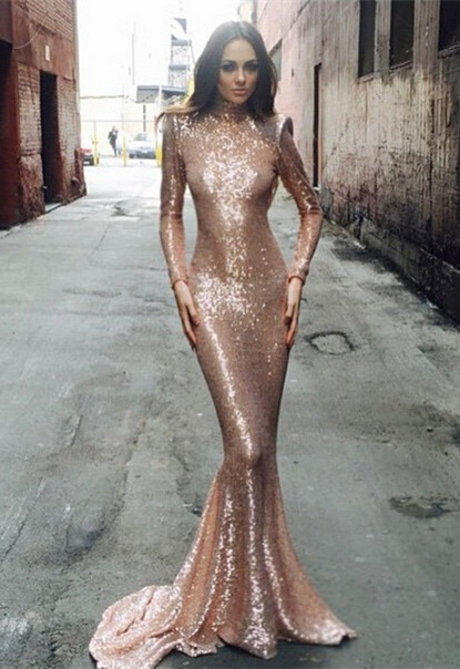 Sexy Sequined Mermaid Long Sleeve Prom Dress 2020 High Neck Sweep Train