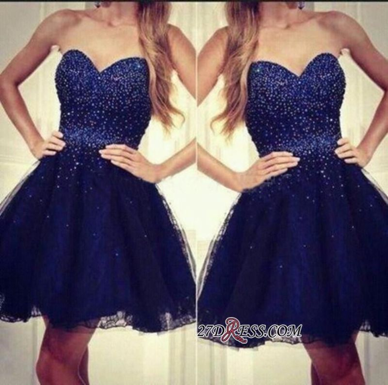 2020 Strapless Sweetheart Short Beading Tulle Navy-Blue Sequins Homecoming Dresses