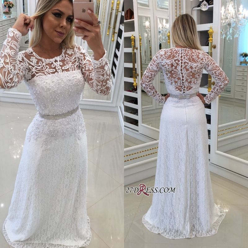 Scoop Long-Sleeves Lace White Buttons Evening Dress