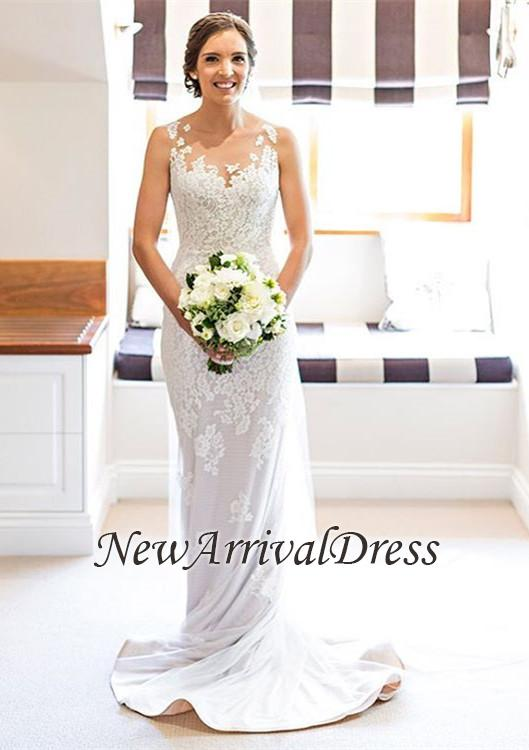 Elegant Long Lace White Sleeveless Wedding Sheath Dresses