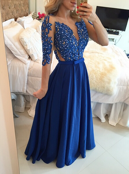 Delicate Chffion Royal Blue 2020 Prom Dress Lace Appliques Half Sleeve