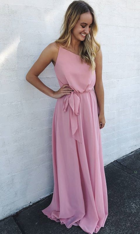 New Arrival Spaghetti Strap Sleeveless Chiffon Prom Gown | A Line Floor Length Pink Evening Dress On Sale
