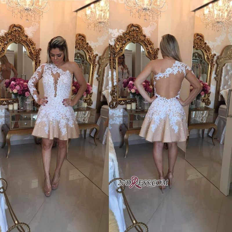 Appliques A-Line Newest One-Shoulder Short Homecoming Dresses