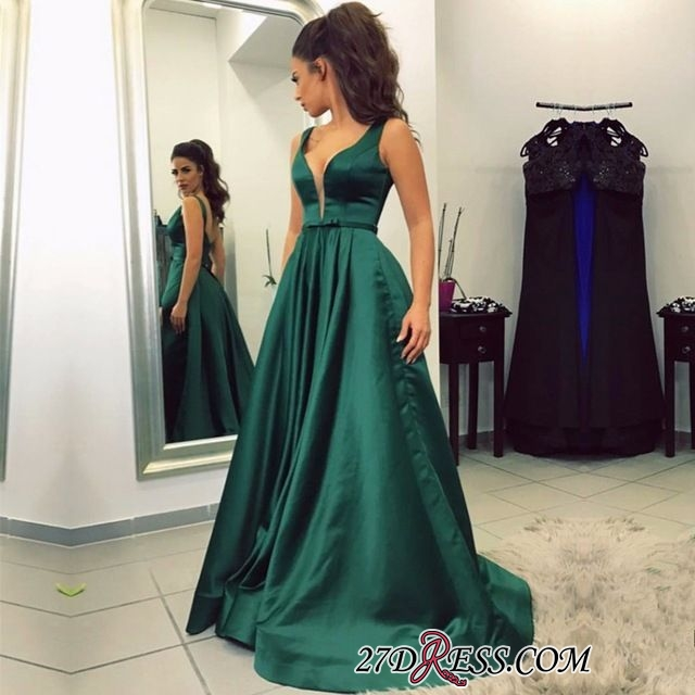 A-line Backless Green Sleeveless Newest V-neck Prom Dress BA8111