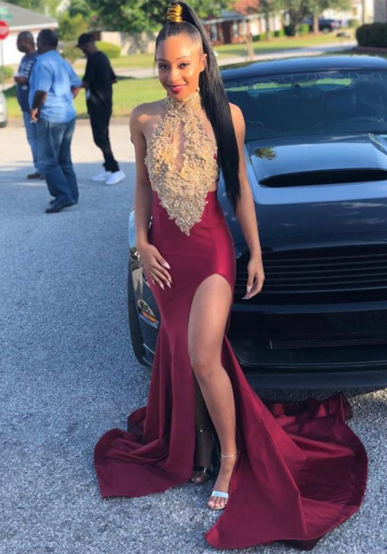Burgundy Halter 2020 Evening Gown | Lace Appliques Mermaid Slit Prom Dress BC1513