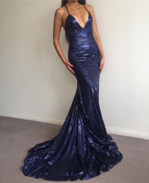 Sexy Halter V-Neck Sequins Prom Dress 2020 Backless Mermaid Evening Gowns BA7154
