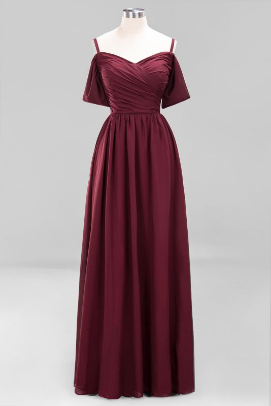 Sexy Spaghetti Strap Draped 2020 Prom Dress | Burgundy A-Line Evening Gowns With Zipper