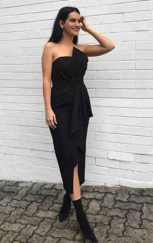 Sexy Black Strapless Bridesmaid Dress | 2020 Short Maid Of Hornor Dress With Bow On Sale