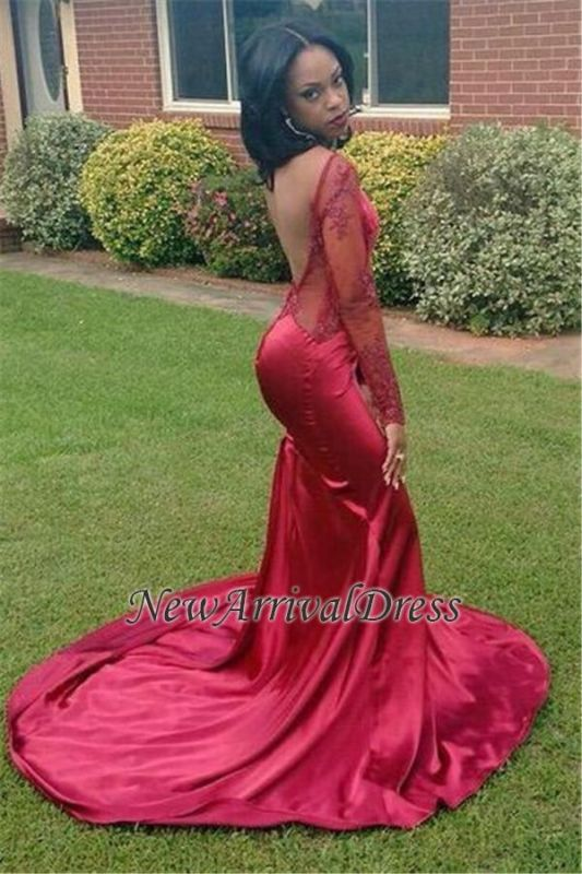 New Sexy Appliques Backless Long-Sleeves Red Mermaid Prom Dress BK0
