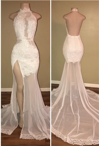 Elegant White Lace Halter 2020 Prom Dress Mermaid Backless Party Dress With Slit BA8228