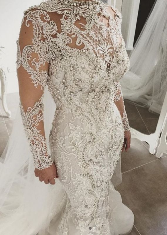 Glamorous Long Sleeve Crystal Wedding Dress | 2020 Mermaid Lace Bridal Gowns