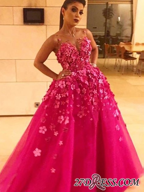 Fuchsia Sleeveless Prom Dress | 2020 Long Evening Party Dress With Appliques
