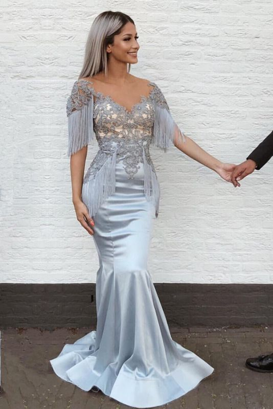 Gorgeous V-Neck Mermaid Prom Dresses With Tassels | Lace Long Evening Gowns