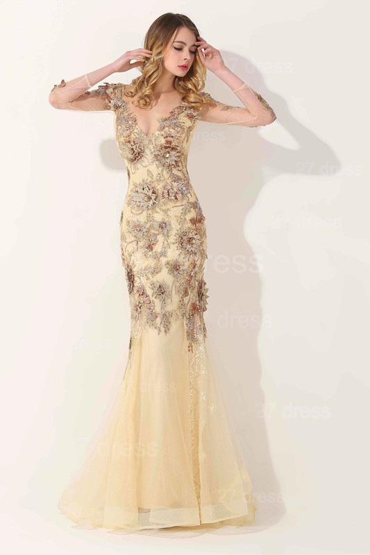 Glamorous Long Sleeve Evening Dress 2020 Appliques Tulle Long