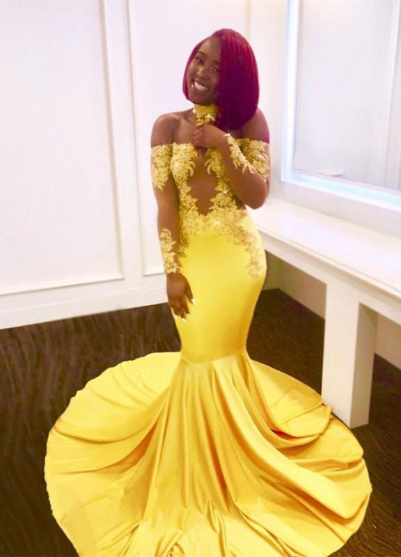 Off-the-shoulder yellow prom dress, mermaid long evening gowns BA7903