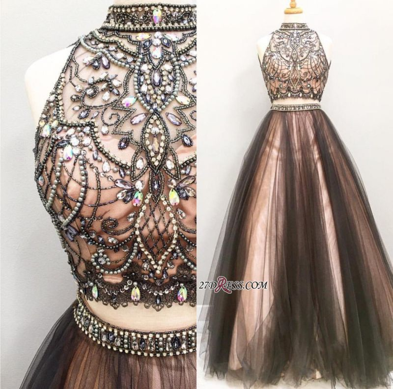 Sleeveless Tulle Crystal Glamorous Two-Pieces A-Line Prom Dress BA4658
