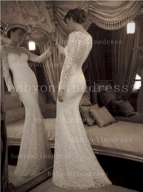 Glamorous lace long sleeves wedding dress floor length lace bridal gowns on sale