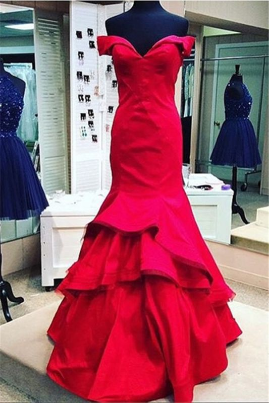 Sexy red Mermaid 2020 Prom Dress Off the shoulder With Ruffles BK0