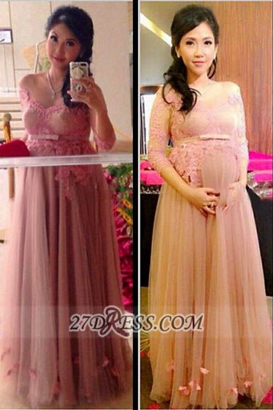 Elegant 3/4-length Sleeve Tulle Maternity Prom Dress With Lace Appliques Flowers