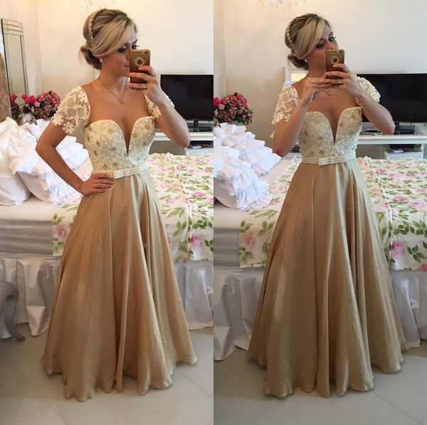 Gorgeous Sweetheart Cap Sleeve Evening Dress Lace Peals Long Chiffon Prom Gowns