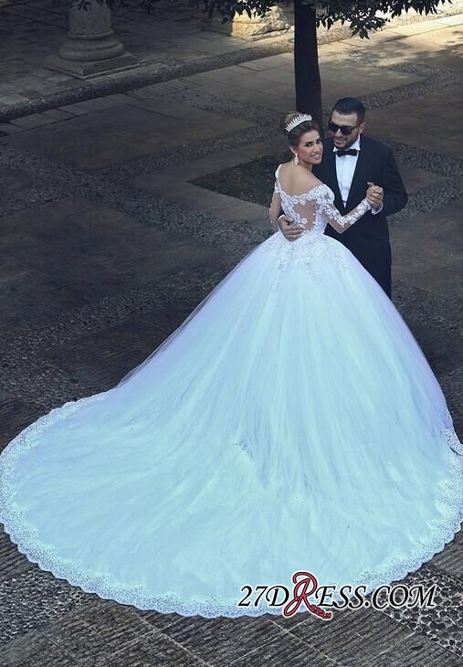 Ball-Gown Tulle Lace Appliques Beadings Elegant Long-Sleeves Wedding Dresses