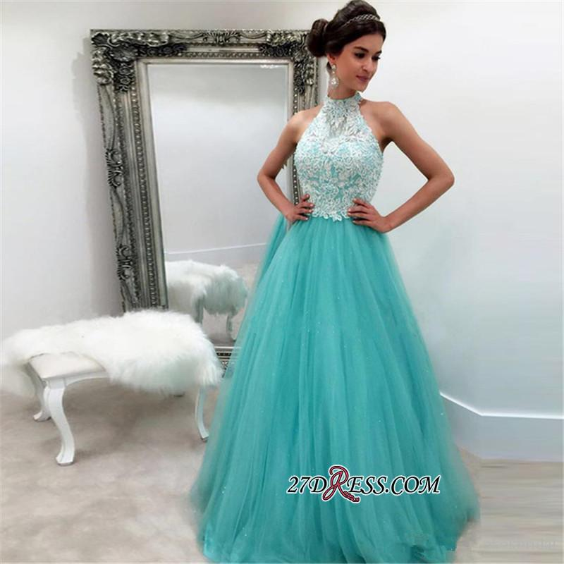 2020 Lace Tulle Elegant Sleeveless High-Neck A-line Evening Dress