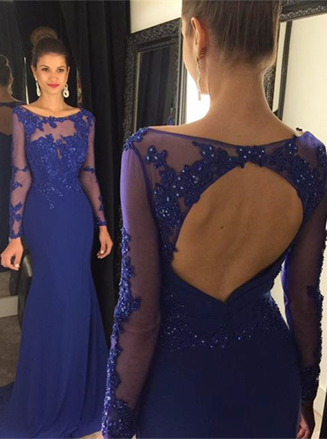 Elegant Lace Appliques Sequined Evening Dress 2020 Mermaid Long Sleeve AP0