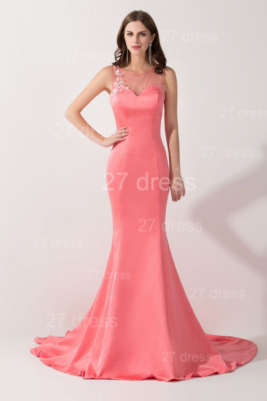 Newest Mermaid Pink Sequins Evening Dress Illusion Sweep Train