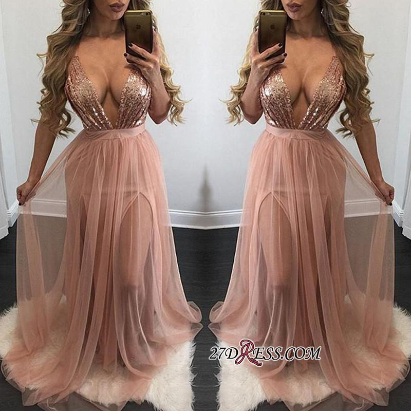 Side-Slit Floor-Length Sequined Sexy Deep-V-Neck Prom Dress