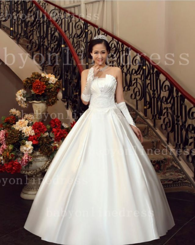 Bo Designer Wedding Dresses on Sale Hot Beautiful Bridal Gowns White Sale 2020 Strapless Appliques Sequined Satin A-line