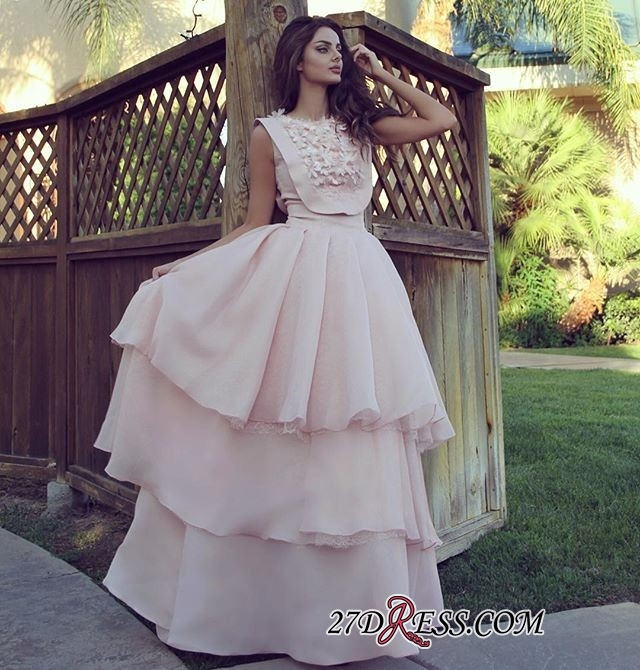 Pink Chiffon Evening Gowns | 2020 Prom Dress With Layers