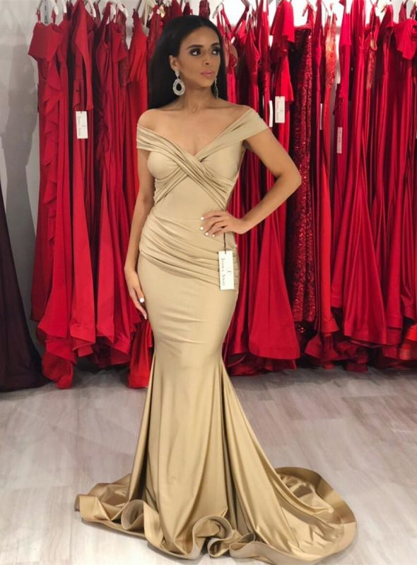 Gorgeous Off-the-Shoulder Draped Evening Gowns | Mermaid Floor Length Prom Dress With Zipper