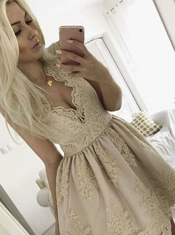 Lovely Lace Appliques 2020 Short Homecoming Dress On Sale