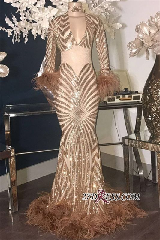 See-Through Feathers V-Neck Sequins Modern Long-Sleeves Mermaid Prom Dresses
