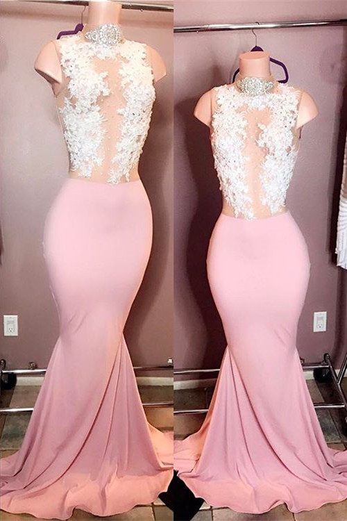 Elegant High-Neck Sleeveless Pink Prom Dresses | 2020 Mermaid Lace Evening Gowns