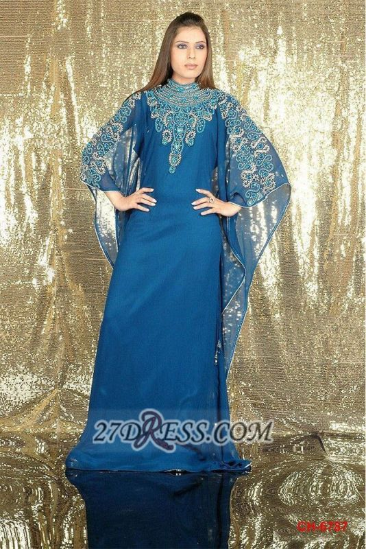 Modern High Neck Long Sleeve Arabic Prom Dress With Appliques Floor-length