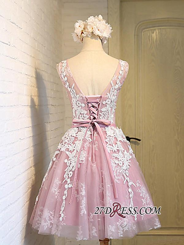 2020 Sleeveless Jewel Pink Lace Open-Back Sash Appliques Lace-Up Cheap Homecoming Dresses