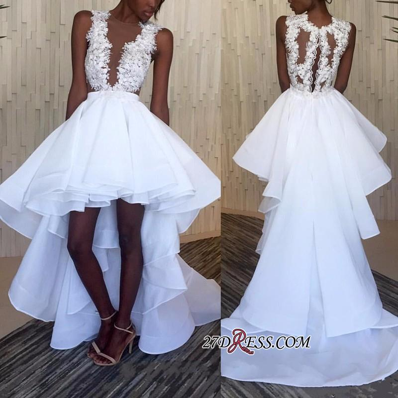 Lace White Appliques Ruffles Sleeveless Hi-Lo Wedding Dress BA3775