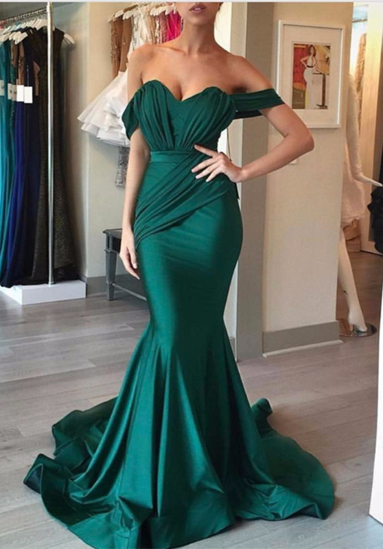 Elegant Green Off-the-shoulder Mermaid Evening Dress 2020 Long Formal Dress BA6968