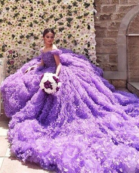 Glamorous Purple Off-the-shoulder Wedding Dress 2020 Long Train Flowers BAFRW0010