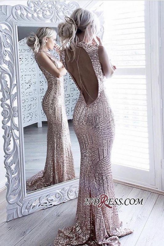 Sheath Sparkling Open-Back High-Neck Sequins Sleeveless Sexy Prom Dress JJ0158