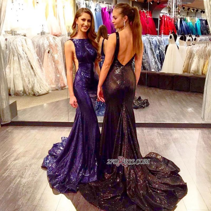 2020 Mermaid Sleeveless Sexy Court-Train Sequined Open-Back Prom Dress