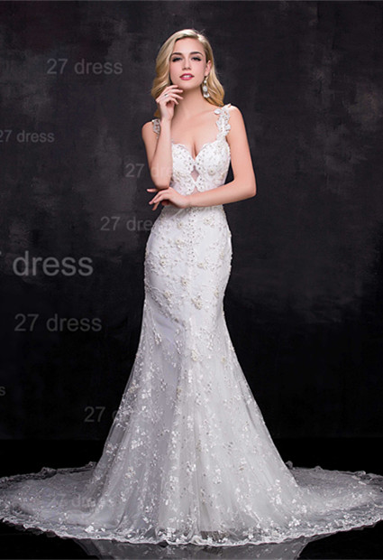 Delicate Straps Mermaid Lace Appliques Wedding Dress Sweep Train