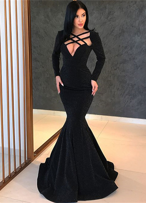 Sexy Black Long Sleeve Evening Gowns | 2020 Mermaid Long Prom Gowns BC0315