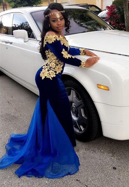 Royal blue mermaid prom dress,Long sleeve evening dresses 2020 BK0 BA8153